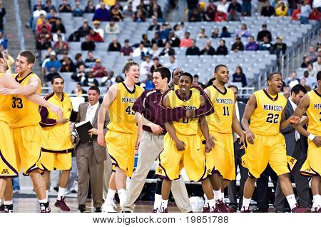 GLENDALE, AZ - DECEMBER 20: University of Minnesota Gophers basketball team celebrates after defeating the University of Louisville Cardinals on December 20, 2008 in Glendale, Arizona