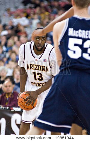 GLENDALE, AZ - DECEMBER 20: Arizona State University guard James Harden #13 prepares to drive during the basketball game against Brigham Young University on December 20, 2008 in Glendale, Arizona.