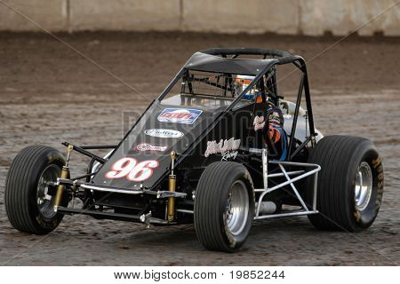 PHOENIX, AZ - FEBRUARY 21: Rickie Gaunt (96) competes in the USAC Copper on Dirt auto race at the Manzanita Speedway on February 21, 2009 in Phoenix, AZ.