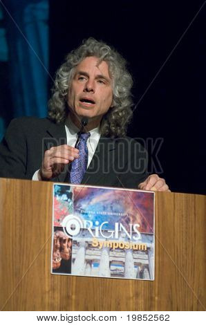TEMPE, AZ - APRIL 6: Cognitive scientist and psychologist Dr. Steven Pinker addresses the Origins Symposium at Arizona State University on April 6, 2009 in Tempe, AZ.