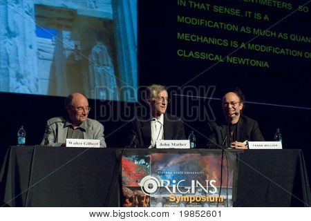 TEMPE, AZ - APRIL 6: Nobel Prize winners Dr. Walter Gilbert, Dr. John Mather and Dr. Frank Wilczek address the Origins Symposium at Arizona State University on April 6, 2009 in Tempe, AZ.