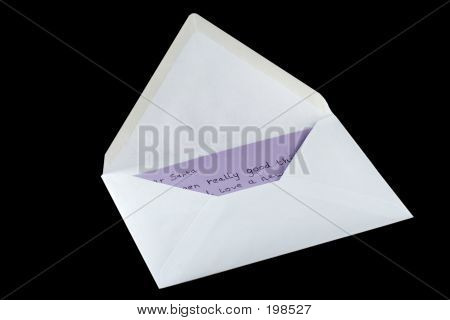 Letter To Santa In An Envelope Isolated On Black