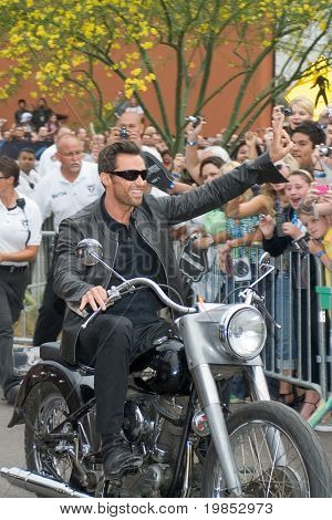 TEMPE, AZ - APRIL 27: Actor Hugh Jackman appears on a motorcycle at the premiere of X-Men Origins: Wolverine on April 27, 2009 in Tempe, AZ.