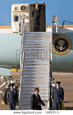 PHOENIX, AZ - MAY 13: President Barack Obama disembarks from Air Force One at Phoenix Sky Harbor Airport on May 13, 2009 in Phoenix, AZ.
