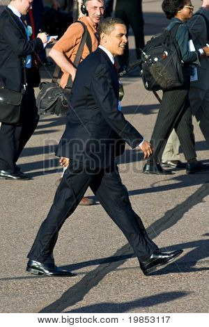 PHOENIX, AZ - MAY 13: President Barack Obama on the tarmac after disembarking from Air Force One at Phoenix Sky Harbor Airport on May 13, 2009 in Phoenix, AZ.