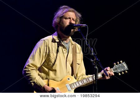 MESA, AZ - SEPTEMBER 29: Justin Vernon and the band Bon Iver perform at the Mesa Arts Center on September 29, 2009 in Mesa, Arizona.