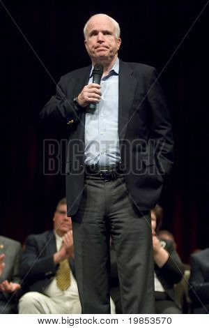 MESA, AZ - OCTOBER 30: Senator John McCain (R- AZ) speaks at a town hall meeting on October 30, 2009 in Mesa, Arizona.