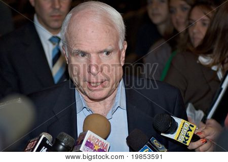 MESA, AZ - OCTOBER 30: Senator John McCain (R- AZ) answers questions after a town hall meeting on October 30, 2009 in Mesa, Arizona.
