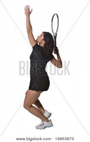 Un jugador de tenis mujer bonita, Atlético aislado sobre un fondo blanco.