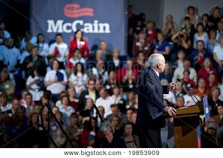 MESA, AZ - MARCH 27: Republican Senator John McCain of Arizona addresses supporters at a re-election rally on March 27, 2010 in Mesa, AZ.