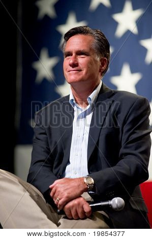MESA, AZ - JUNE 4:Former Massachusetts Governor Mitt Romney appears at a town hall meeting on June 4, 2010 in Mesa, Arizona.