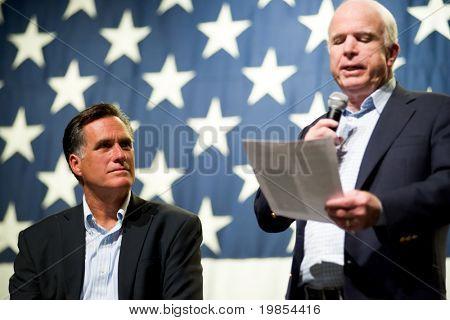 MESA, AZ - JUNE 4: Former Massachusetts Governor Mitt Romney and Senator John McCain appear at a town hall meeting on June 4, 2010 in Mesa, Arizona.