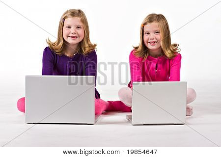 Beautiful twin sisters work on their computers