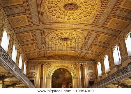 The highly decorated chapel ceiling in the historic Royal Navel college at Greenwich,London.
