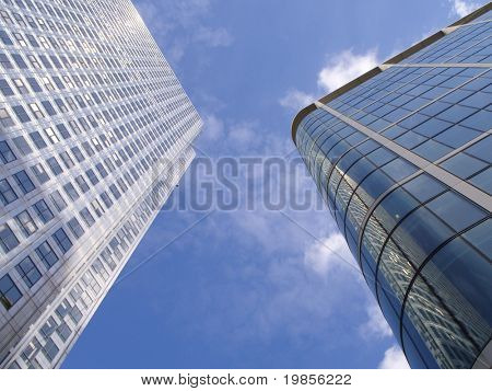 Converging city towers