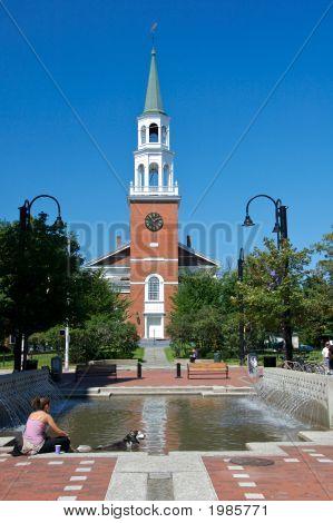 New England Church Against Brilliant Blue Sky