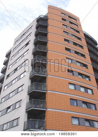 Modern london apartment block.