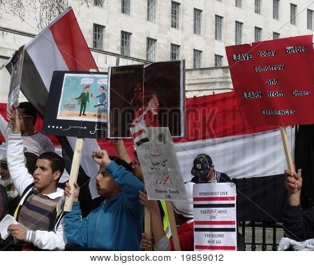 LONDON- APRIL 2: Unidentified Yemen supporters protest for freedom and democracy to be restored in there country on April 2, 2011 outside Downing Street in London, England.