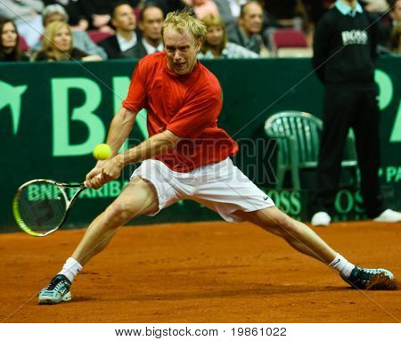 Stefan Koubek of Austria during his match against Mike Bryan  - Davis Cup Austria - USA 2008