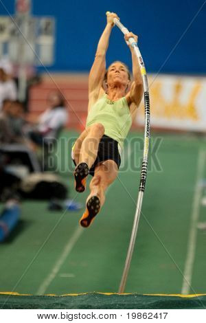 VIENNA, AUSTRIA - FEBRUARY 3, 2009: International indoor track and field meeting in Vienna: Doris Auer, Austria, places third in the women's pole vault event.
