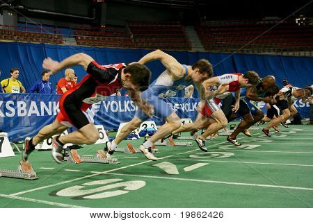 VIENNA, AUSTRIA - FEBRUARY 3, 2009: International indoor track and field meeting in Vienna: Start of the men's 60m sprint event.