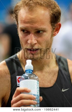 VIENNA, AUSTRIA - FEBRUARY 3, 2009: International indoor track and field meeting in Vienna: Andreas Rapatz, Austria, places seventh in the men's 800m running event.
