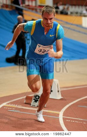 VIENNA, AUSTRIA - FEBRUARY 3: Ioan Vieru of  Romania, placed third in the men's 400m sprint event at the International indoor track and field meeting in Vienna, Feb. 2, 2009.