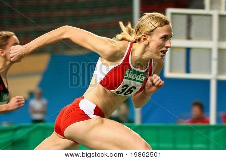 VIENNA, AUSTRIA - FEBRUARY 21: Indoor track and field championship: Victoria Schreibeis wins the women's 60m hurdle event February 21, 2009 in Vienna, Austria.