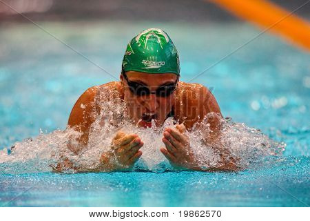 VIENNA, AUSTRIA - MARCH 1: National indoor swimming championship: Mirna Jukic wins the women's 50m breast stroke event March 1, 2009 in Vienna, Austria.