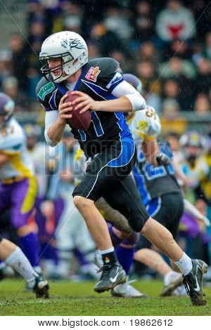 VIENNA, AUSTRIA - MAR 29: Austrian Football League: Quarterback Brad Guidry and his team lose their game against the Vienna Vikings 27:0 on March 29, 2009 in Vienna, Austria.