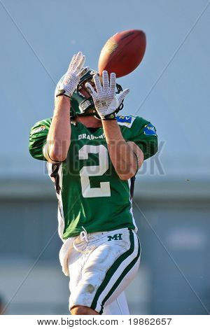 KORNEUBURG, AUSTRIA - April 4: Austrian Football League: WR Joseph Stein (#2, Dragons) scores five touchdowns against the Tirol Raiders on April 4, 2009 in Korneuburg, Austria.
