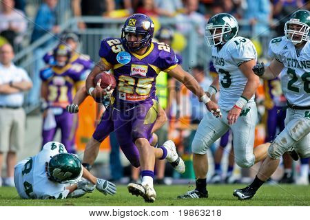 VIENNA, AUSTRIA - JUNE 1: Charity Bowl XI: RB Josiah Cravalho and his team lose 14:64 to the Wesleyan Titans on June 1, 2009 in Vienna, Austria.
