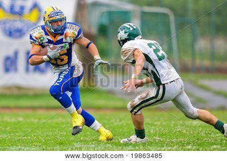 GRAZ,  AUSTRIA - JUNE 28 Austrian Football League: Armando Ponce de Leon (#15, Giants) and his team win 35:28 against the Danube Dragons on June 28, 2009 in Graz, Austria.