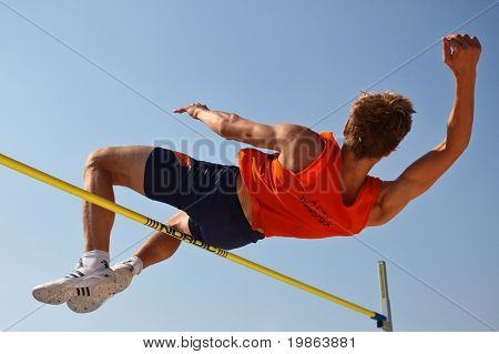 LINZ, AUSTRIA - AUGUST 2 Austrian track and field championship: Oliver Baumgartner places third in the men's high jump event on August 2, 2009 in Linz, Austria.