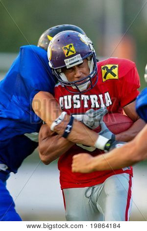 WOLFSBERG, AUSTRIA - AUGUST 18: American Football B-EC: WR Timothee Bach (#5, Austria) and his team beat Italy 34:3 on August 18, 2009 in Wolfsberg, Austria.