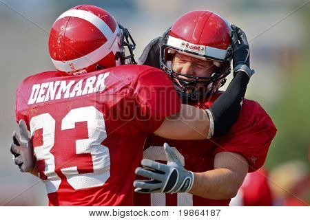 WOLFSBERG, AUSTRIA - AUGUST 20: American Football B-EC: DB Kristian Nielsen (#33, Denmark) and his team beat the Czech Republic 34:0 on August 20, 2009 in Wolfsberg, Austria.