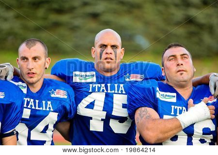 WOLFSBERG, AUSTRIA - AUGUST 18 American Football B-EC: DB James Cannetti (#45, Italy) and his team lose 3:34 against Austria on August 18, 2009 in Wolfsberg, Austria.