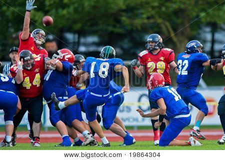 WOLFSBERG, AUSTRIA - AUGUST 16: American Football B-EC: Kicker Andrea Vergazzoli (#18, Italy) and his team beat Spain 42:7 on August 16, 2009 in Wolfsberg, Austria.