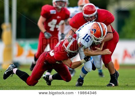WOLFSBERG, AUSTRIA - AUGUST 18 American Football B-EC: WR Ales Danhel (#16, Czech) and his team beat Denmark 30:15 on August 18, 2009 in Wolfsberg, Austria.