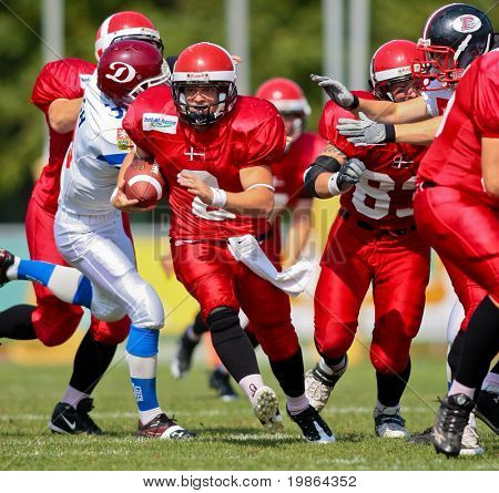 WOLFSBERG, AUSTRIA - AUGUST 20 American Football B-EC: RB Dan Kaltoft Boehm (#2, Denmark) and his team beat the Czech Republic 34:0 on August 20, 2009 in Wolfsberg, Austria.