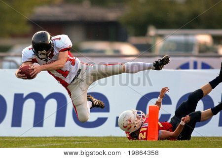 WOLFSBERG, AUSTRIA - AUGUST 20 American Football B-EC: WR Florian Starzengruber (#17, Austria) and his team beat Spain 70:0 on August 20, 2009 in Wolfsberg, Austria.