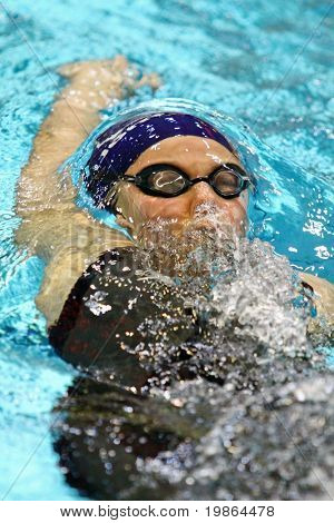 VIENNA, AUSTRIA - NOVEMBER 28: Czech swimmer Tereza Kopecka places tenth in the women's 100m backstroke event. Winner is Fabiola Molina (Brazil, not pictured) on November 28, 2009 in Vienna, Austria.