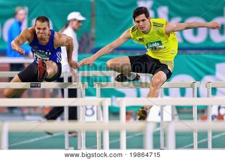 VIENNA, AUSTRIA - FEBRUARY 19: Indoor track and field championship. Philipp Huber (#177, Austria) places sixth in the men's 60m hurdles event on February 19, 2011 in Vienna, Austria.