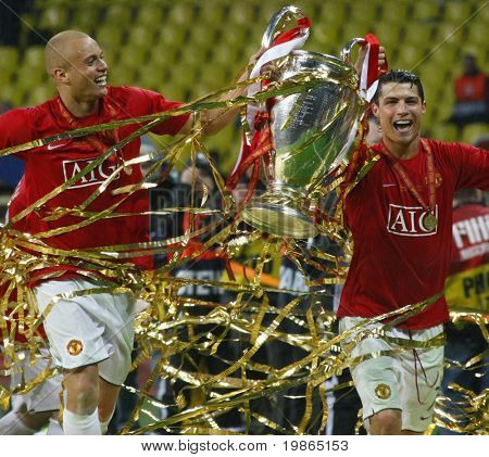 Cristian Ronaldo and Wes Brown Champions League Final held at Luzhniki Stadium Moscow 21 May 2008 and contested by Manchester United v Chelsea FC