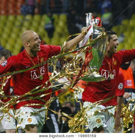 Cristian Ronaldo and Wes Brown at the Champions League Final held at Luzhniki Stadium Moscow 21 May 2008 and contested by Manchester United v Chelsea FC