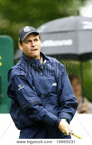 England's David Howell competes in the rain at the PGA European Tour BMW Open Golf Munich Germany 19 - 22 June 2008 at the Golf Club Munchen Eichenried