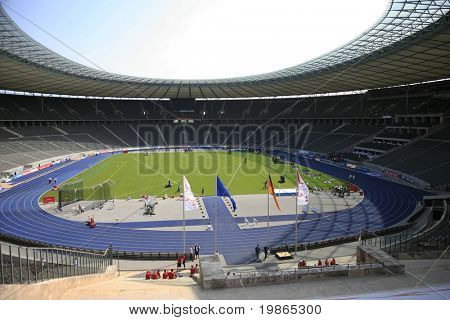 Berlins Olympia Stadion. Istaf Berlin International Golden League Athletics held at Berlin's Olympia Stadium (Olympic Stadium) 1st June 2008