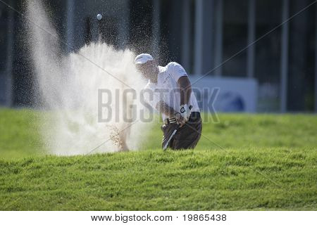 England's Graeme Storm chips in from a bunker at the PGA European Tour BMW Open Golf Munich Germany 19 - 22 June 2008 at the Golf Club Munchen Eichenried