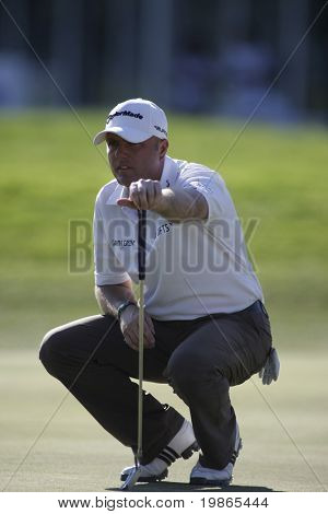 England's Graeme Storm lines up a putt at the PGA European Tour BMW Open Golf Munich Germany 19 - 22 June 2008 at the Golf Club Munchen Eichenried