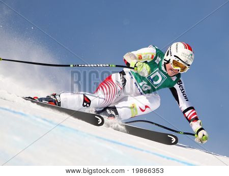 ST MORITZ SWITZERLAND FEBRUARY 03 Elizabeth Goergl Austria Competing in the Audi FIS Alpine Ski World Cup Events 2007-2008